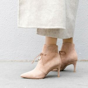 Womens-Ankle-Boots-Lace-Up-Stilettos-High-Heels-Party-Pumps-Shoes-Pointed-Toe-V8