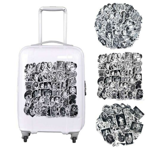 68 Pcs Black /& White Cool Girls Tattoo Stickers For Laptop Luggage Guitar Gift