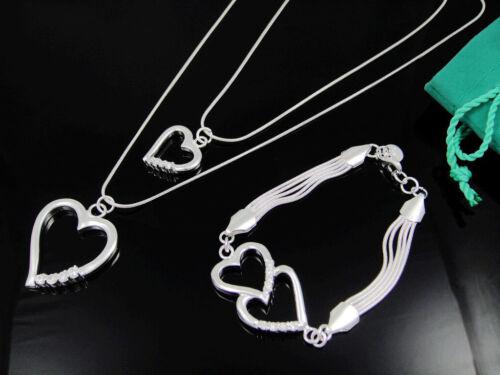 Fashion Accessories Fashion Silver Zircon Heart Necklace+Bracelet Set FS02