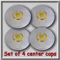 Set 4 Chrome Gold Cadillac Deville Wheel Center Caps 1995-1999 Replica Hubcaps
