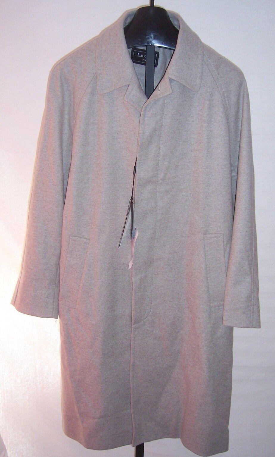 NWT Lacoste Light Brown Wool Blend Long Coat Mens Size Medium  (52 5)