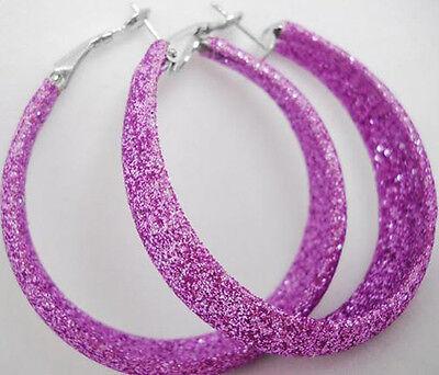 E1028 fashion purple dull polish simple charm new hoop earrings jewelry charm