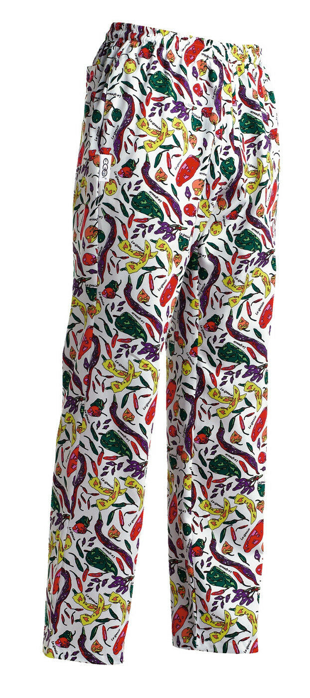 PANTALONE PEPERONCINO CHEF PANTS EGOCHEF MADE IN ITALY SPEZIE PIZZAIOLO COTONE