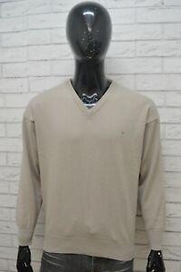 TRUSSARDI-Uomo-Taglia-L-Maglione-Cotone-Pullover-Cardigan-Sweater-Man-Beige