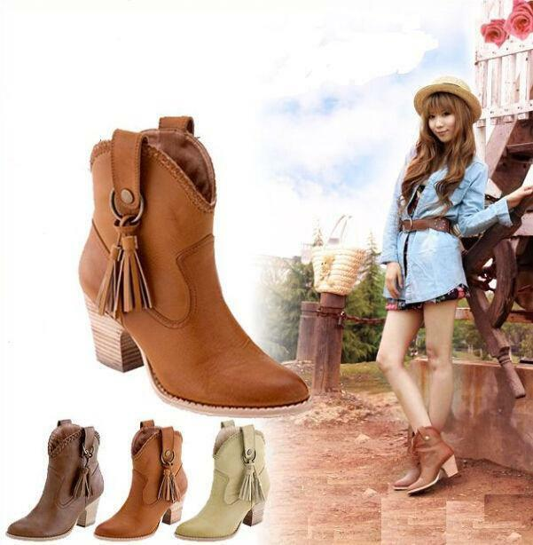 Womens western Boho shoes block heel pull on tassels pointy toe ankle boots New