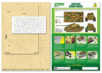 J's Work #PPA5007 Airbrush Camo-Mask for 1/35 King Tiger Camouflage Scheme 1
