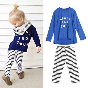 4d0ba6f7c 2pc Toddler Kids Baby Girls Outfits Cotton T-shirt Tops+stripe pants ...