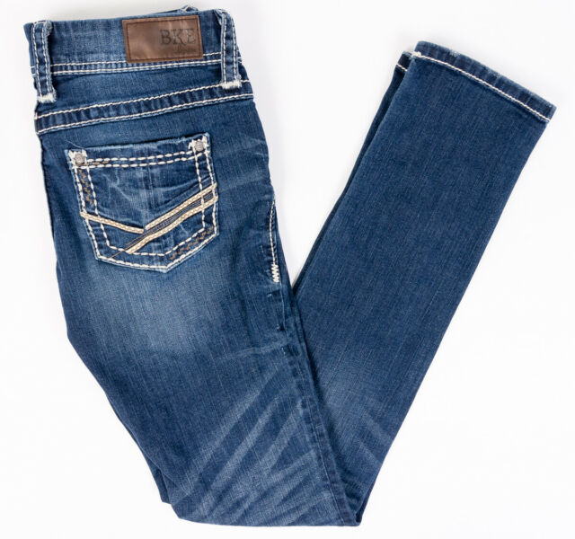 BKE Buckle Stella Stretch Womens Jeans Dark Wash Thick Stitch Size 26/33