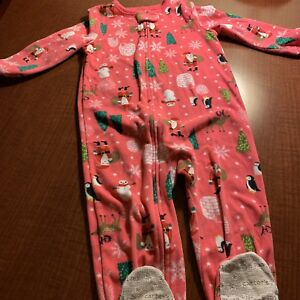 8ca09f96f981 Details about Carters Toddler Girl Fleece Pajamas Footed Warm Size 3T Pink  Santa Christmas