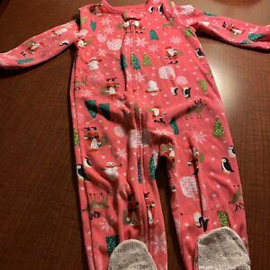 21991ddb1827 Carters Toddler Girl Fleece Pajamas Footed Warm Size 3T Pink Santa ...