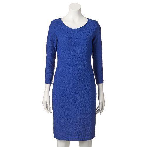 New Dana Buchman Women Textured  Sheath Dress Atlantis Size 16 Msrp