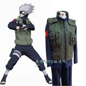 Naruto-Hatake-Kakashi-Cosplay-Costume-Outfit-Full-Suit-Vest-Shirt-Pants-Cloak