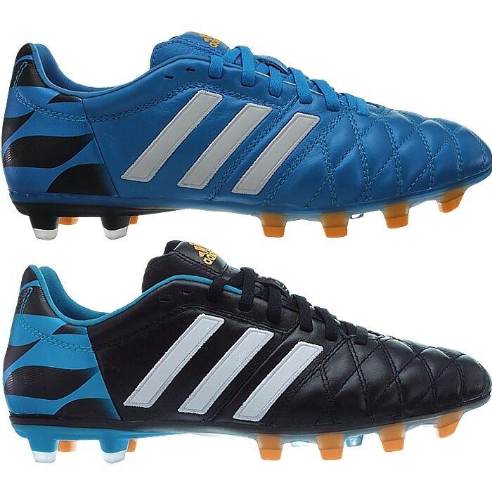 Adidas 11pro FG Profi-botas de fútbol para caballeros azul o negro cuero liso nuevo