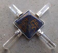 4 point lapis quartz crystal generator~engraved reiki symbols and pentagram~