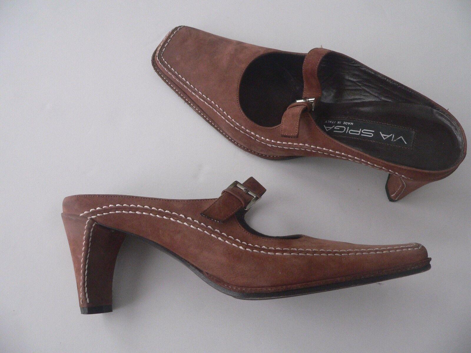 VIA SPIGA 6M mules slides heels schuhe Leder nubuck suede Braun buckles Leder schuhe  9e1efa