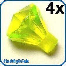 D002A x4 Lego Diamonds Jewels Gems - Trans-Neon Green - Lot of 4 - NEW