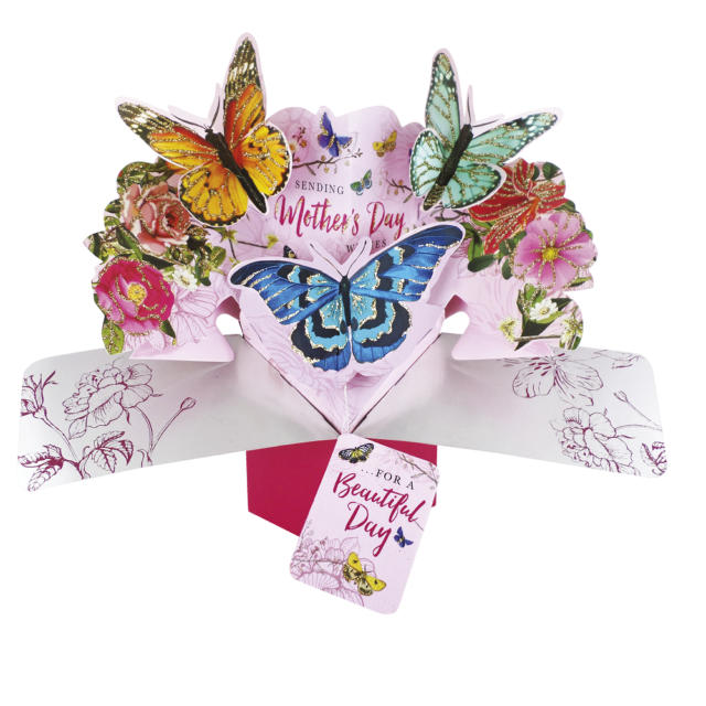 Mothers Day Birthday Greeting Card 3D Butterfly Flowers Keepsake Gift ONE