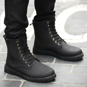 Details about Vintage Men\u0027s British Style Lace Up Combat Boots Wearable  Boots Winter Shoes SZ
