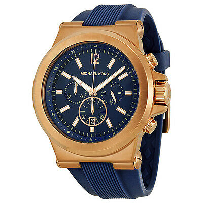 Michael Kors Dylan Rose Gold-tone Navy Silicone Strap Mens Watch