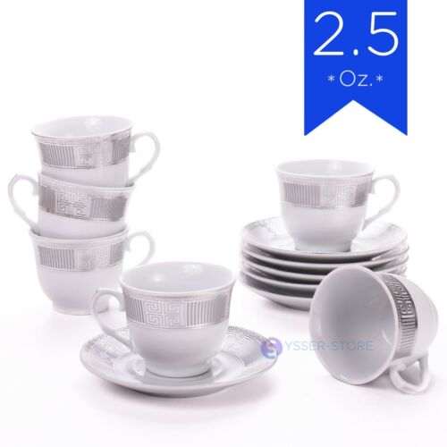 6 Cups /& Saucer Mini Mugs 2 Oz Espresso Coffee Gift Tacitas Demitasse White
