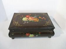 Wooden Box Toleware Flowers Antique Keepsake Box Brass Corners Feet Large 15x10