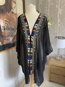 WOMENS PACHA RIVER ISLAND MINI BOHO KAFTAN DRESS SIZE M 12 14 16 18 BLACK BEADS