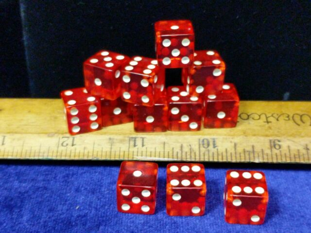 """Vintage Crisloid cheater Red Lucite dice 5 dice 1//2/"""" random matching numbers"""