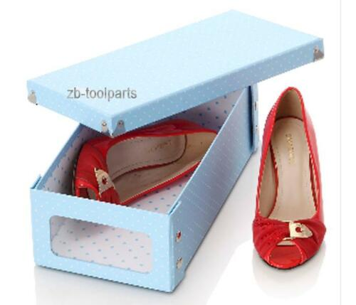 Men Women Blue Shoes Storage cardboard Stackable Box Visible Shoes Organizers