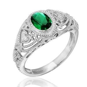 Art-Deco-Vintage-Inspired-Oval-Created-Emerald-Filigree-Ring-Sterling-Silver