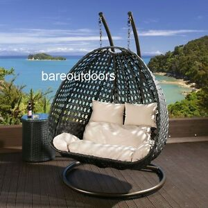 Image Is Loading Double Seater Hanging Pod Chair Black Wicker With