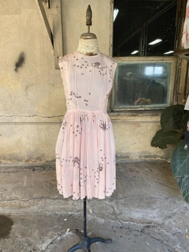 Vintage 1930s 1940s Pink Rayon Midi Dress Tree & F
