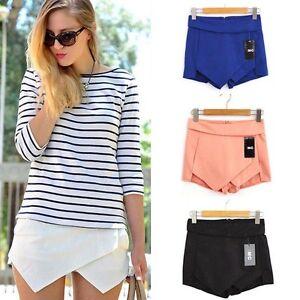 Mini-Culottes-Women-Skirt-Asymmetric-Skorts-Tiered-Wrap-Fashion-Invisible-Short