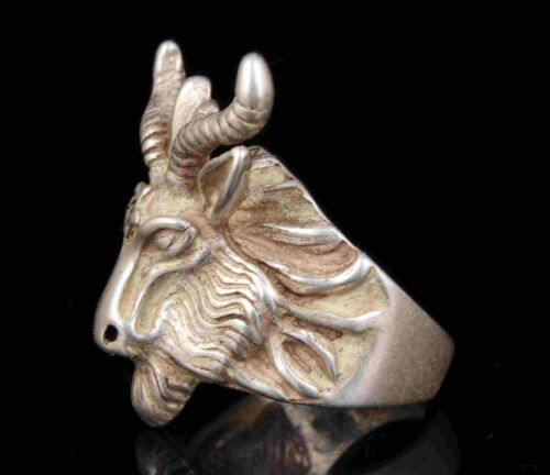 China Old Collection Hand-Carved Tibetan Silver Sheep Statue Rings Gift