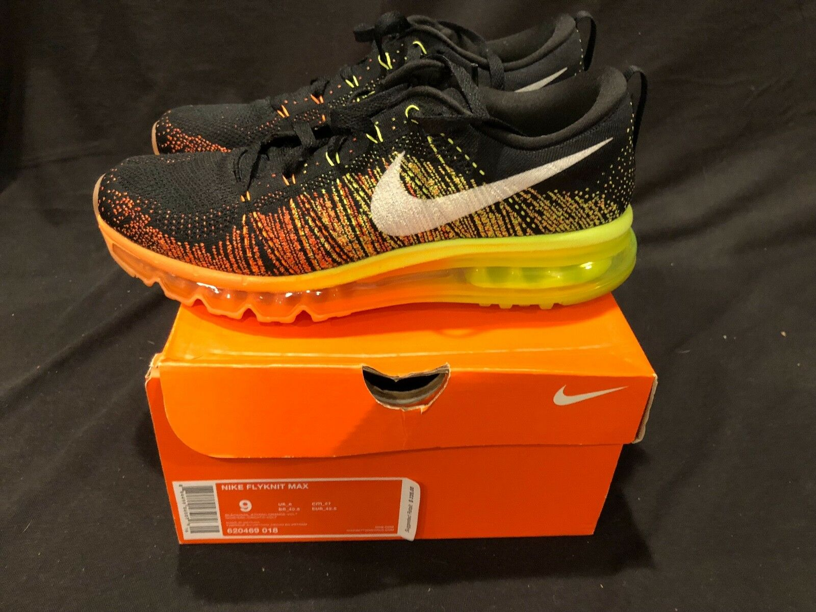 Worn Once NIKE FLYKNIT MAX homme  Orange chaussures  noir Atomic Orange  Volt 620469 018 Sz 9 1eaba0
