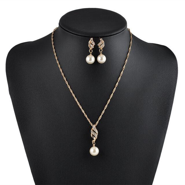 Orecchino di perla collana Set di gioielli in oro placcato oro di cristallo