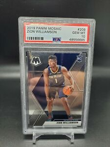 2019-20-Panini-Mosaic-Zion-Williamson-209-Base-Rookie-Card-RC-PSA-10-Gem-Mint