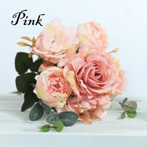 Artificial Silk Peony Rose Hydrangea Flowers Wedding Bouquet Home Decoration