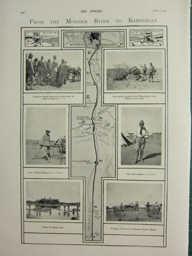 1900 VICTORIAN BOER WAR PRINT FROM MODDER RIVER TO KIMBERLY MAP COLDSTREAM
