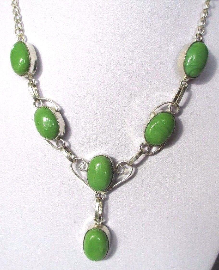 Magnífico Joya Collar silver Maciza Puro 925 Cabujones Onyx green