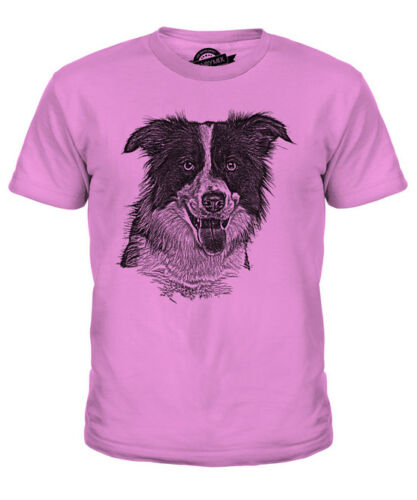 BORDER COLLIE SKETCH KIDS PRINTED T-SHIRT TOP GREAT GIFT FOR DOG LOVER