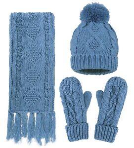 Women Men Adult Warm Winter Knit Set Solid Crochet Beanie Hat Gloves ... 738575d3698