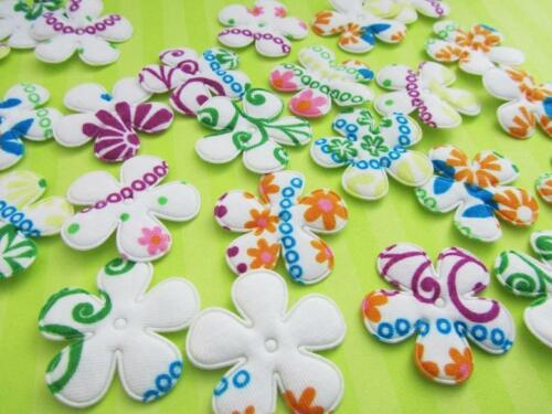 60 Padded Mix Color Floral Print Fabric Flower Applique//Daisy//trim//sewing H128*