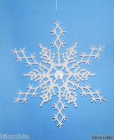 6 Pc. White 6.5 Glittered Plastic Snowflake Ornaments