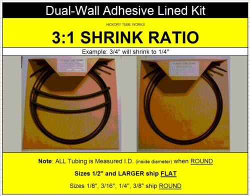 3//8 3//16 BLACK Dual-Wall Adhesive Heat Shrink Tubing Kit 3:1 Ratio 1//8 1//4