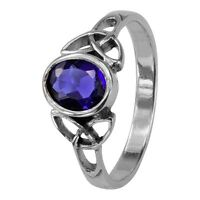 Celtic Silver Birthstone Ring September - Sapphire 0556