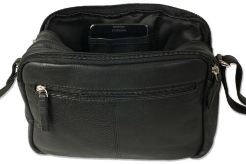 Rinderleder in Schwarz Platino Damen Handtasche aus weichem Nappaleder
