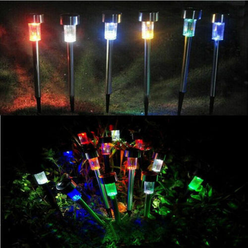 Solar Powered Outdoor Garden Stainless Steel LED Landscape Path Lights Yard Lamp