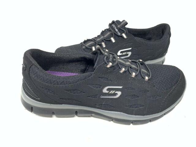 NEW Skechers Women/'s GRATIS FULL CIRCLE Slip On Shoes Black #22604 WIDE 146X tz
