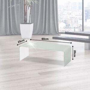 Fernseh Wand Glas Aufsatz TV-Schrank Untersatz Monitor Erhöhung Weiß 60cm Ablage