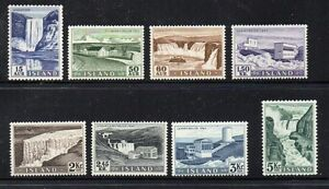Iceland-Sc-289-96-1956-Waterfalls-Hydro-Plants-stamp-set-mint-NH-Free-Shipping